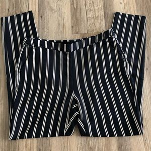 Navy and White Vertical Striped Pants
